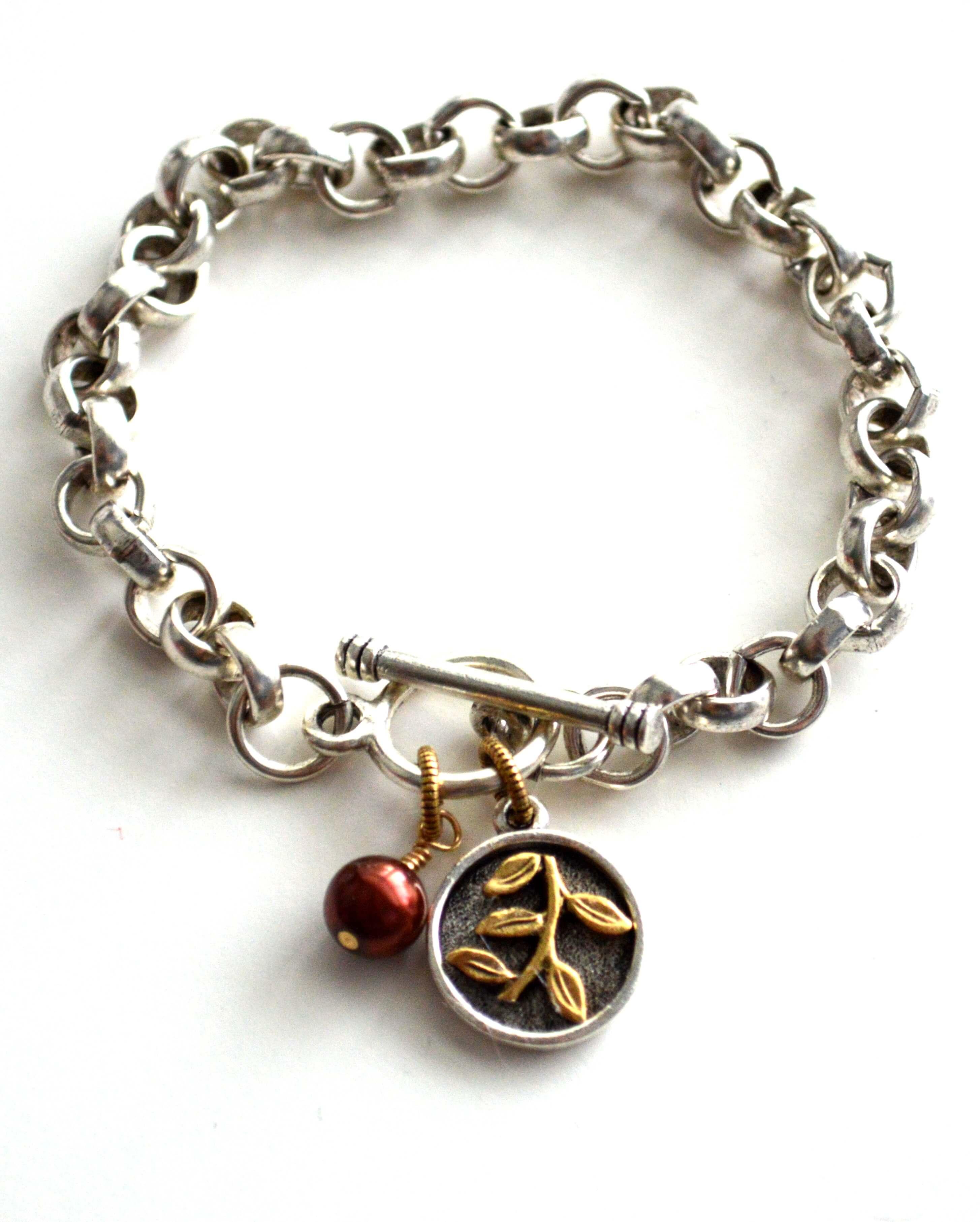 pearl charm bracelet gold charm boho jewelry jewels by