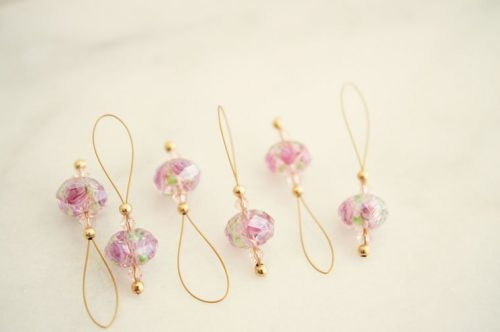 pink stitch markers
