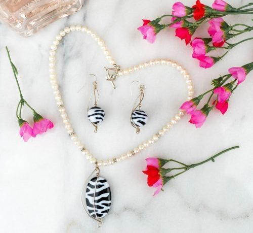 Zebra and White Pearl Necklace
