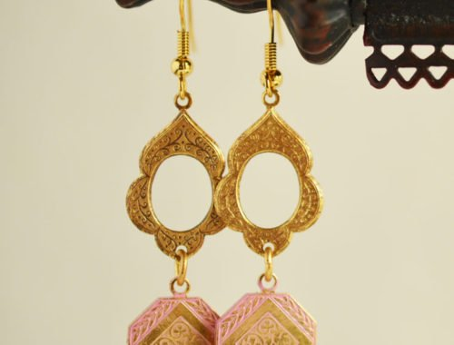 pink dangle earrings