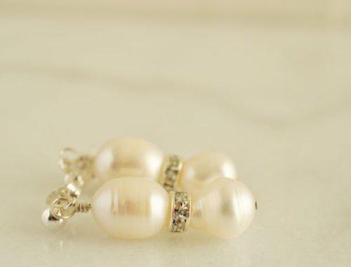 double pearl earrings