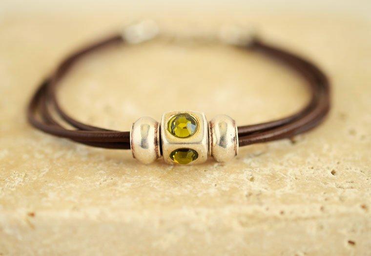 Women S Leather Bracelet Swarovski Crystal Jewelry
