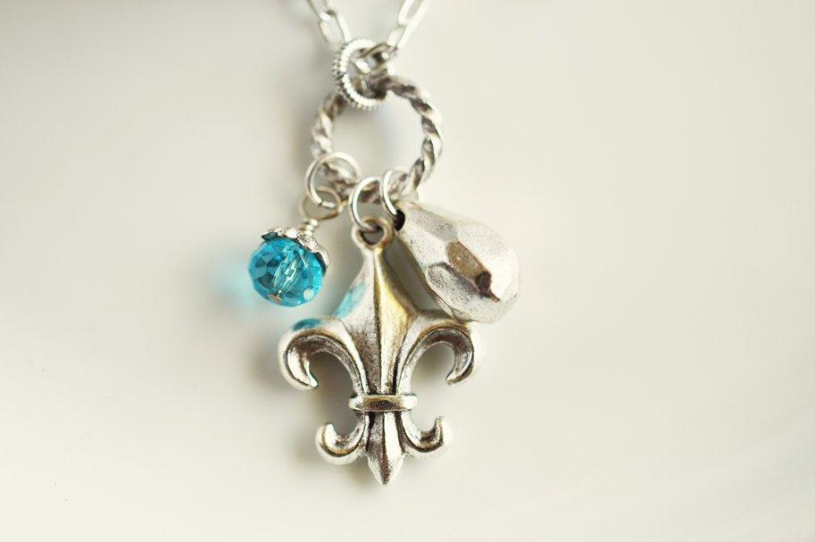 Sold out fleur de lis charm necklace french jewelry jewels by trish fleur de lis charm necklace aloadofball Choice Image